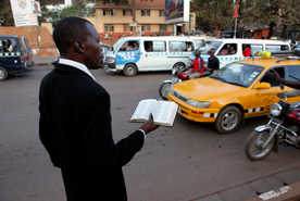 Man preaching in the streets of Uganda