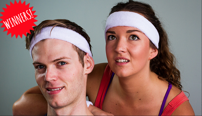 Man and a women in sweatbands
