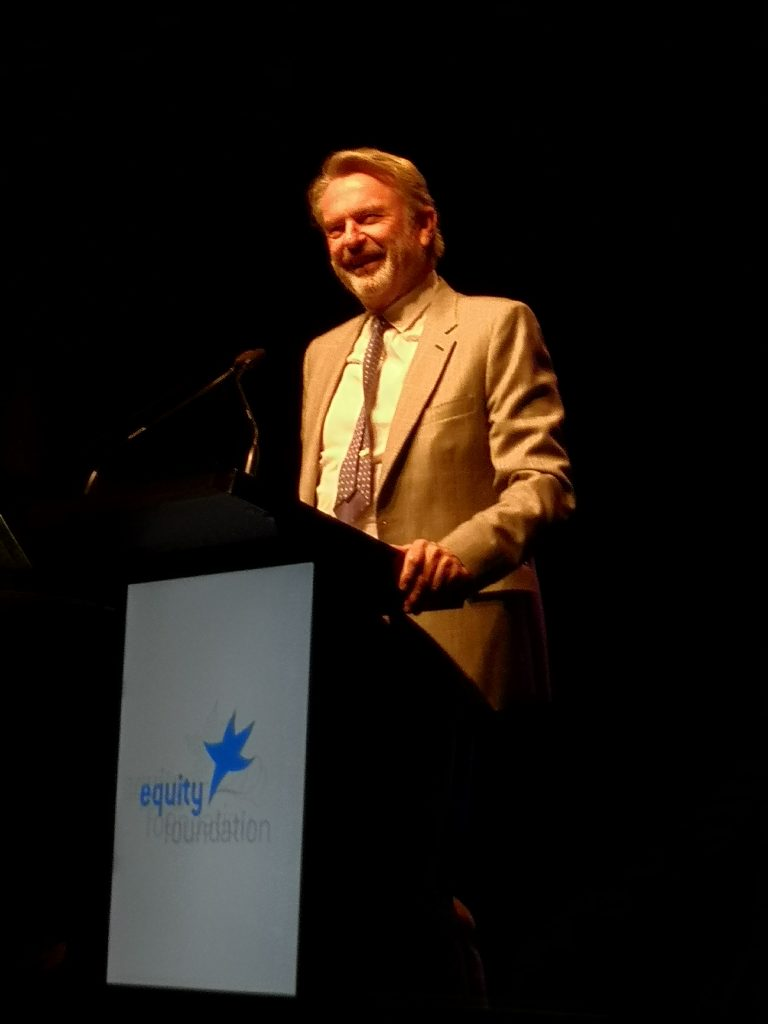 Sam Neill receiving his 2019 Equity New Zealand Lifetime Achievement Award